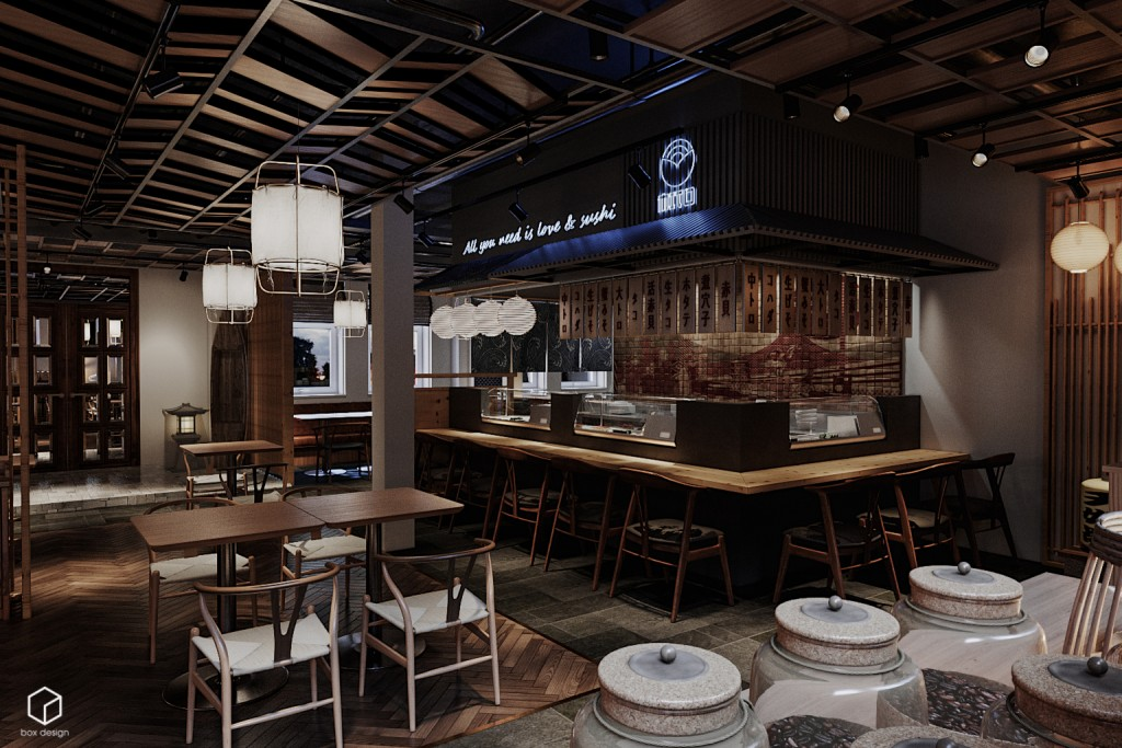 thiết kế nhà hàng Sushi