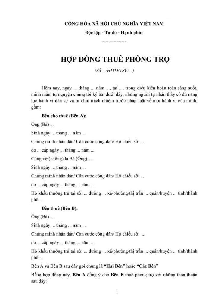 hop dong thue phong tro